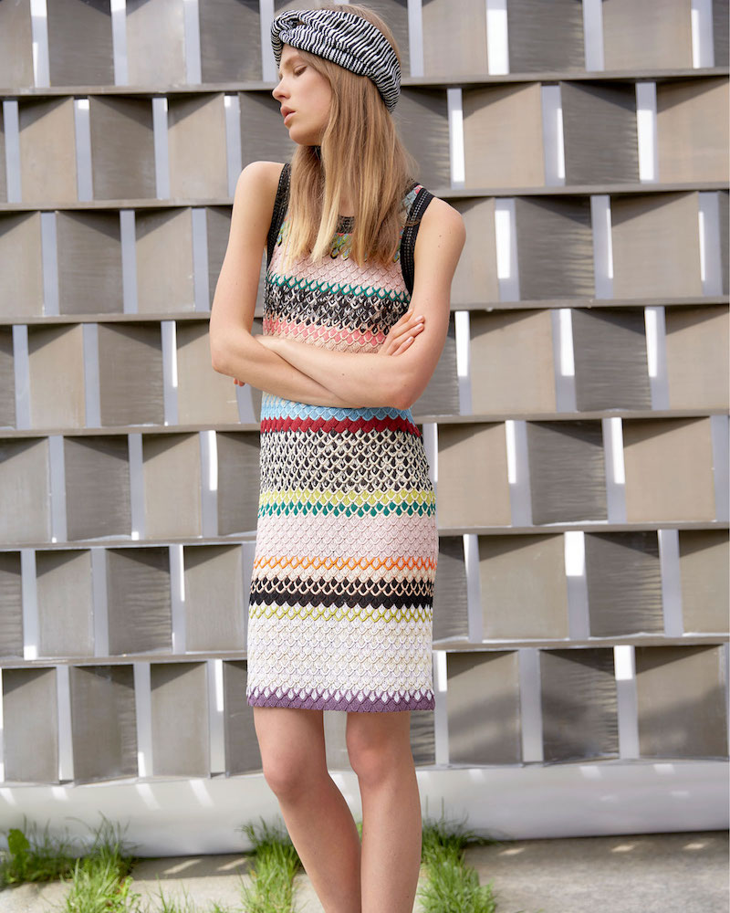 Missoni Fish Scale Knit Sleeveless Shift Dress