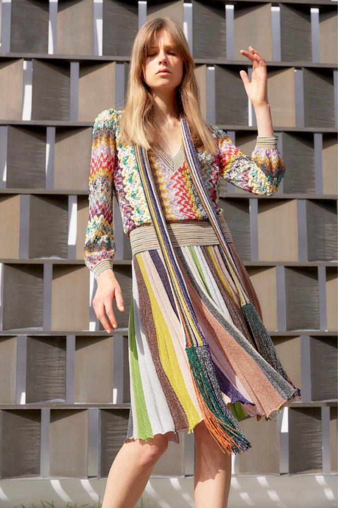 Missoni Striped Pleated A-Line Skirt