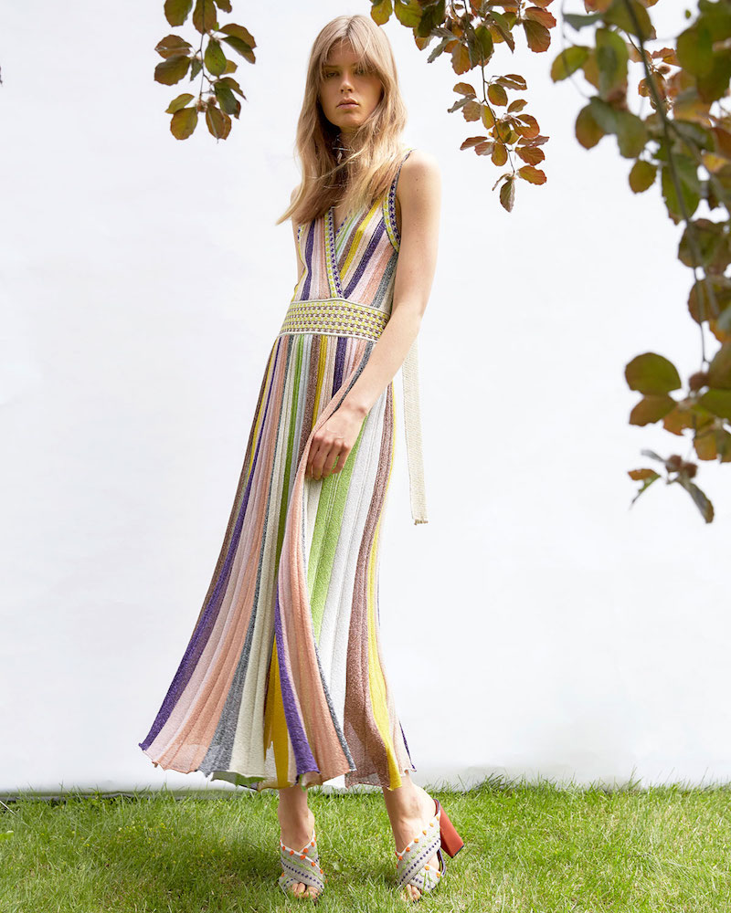 Missoni Striped Sleeveless V-Back Gown