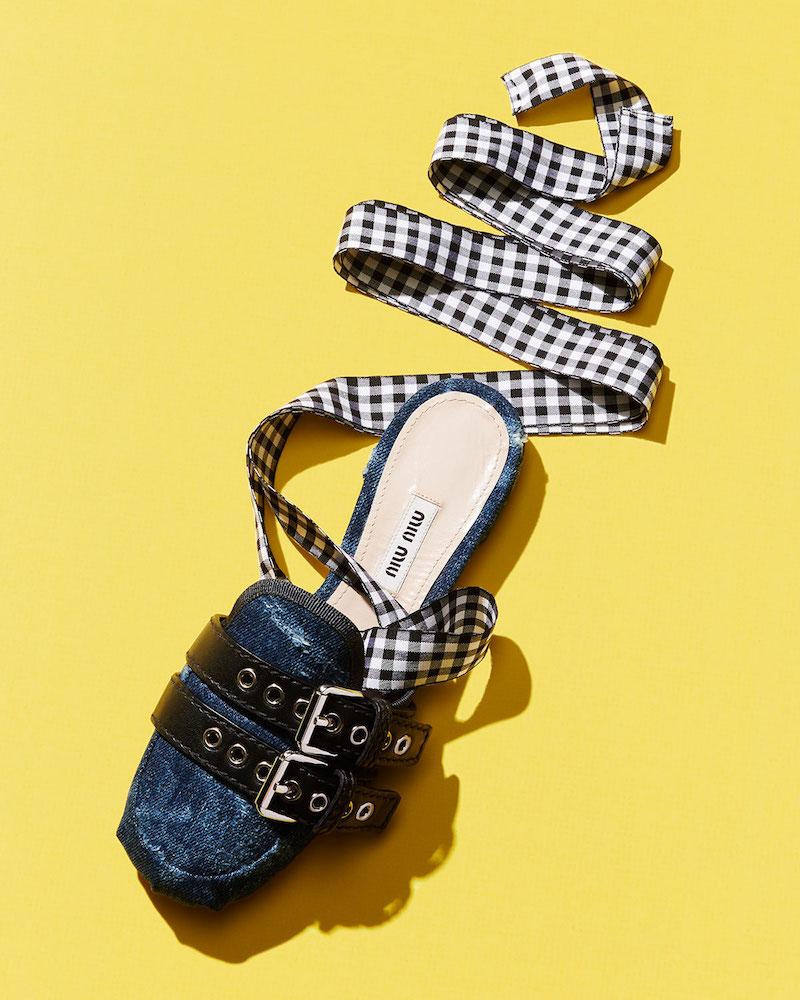 Miu Miu Denim:Ribbon Ankle-Wrap Slide Flat