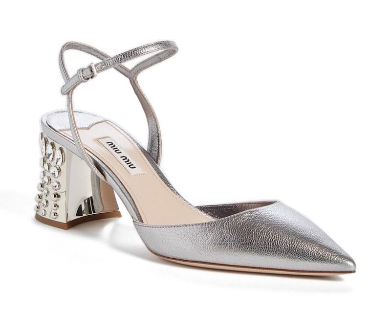 Miu Miu Jeweled Heel Ankle Strap Pump