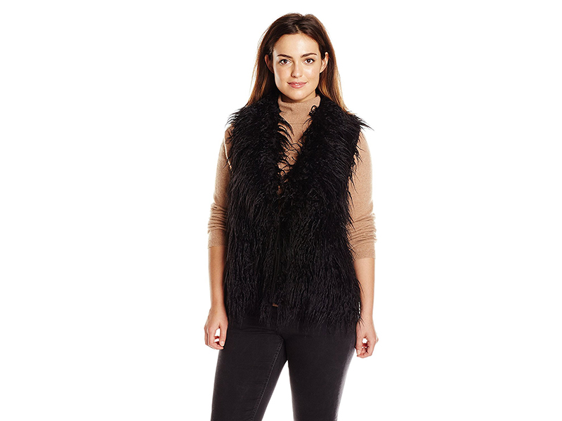 Modamix Plus-Size Black Mongolian Fur with Sweater