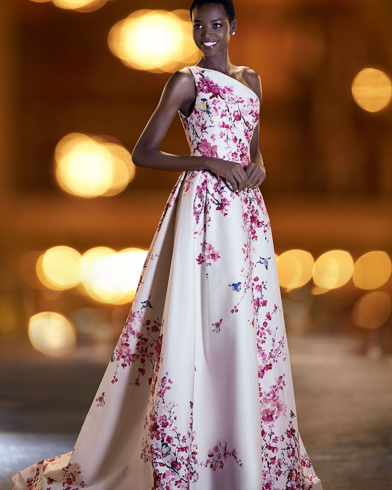 Monique Lhuillier Cherry Blossom One-Shoulder Ball Gown