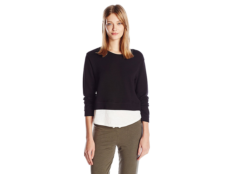 Monrow Super Soft Double Layer Crop Sweatshirt