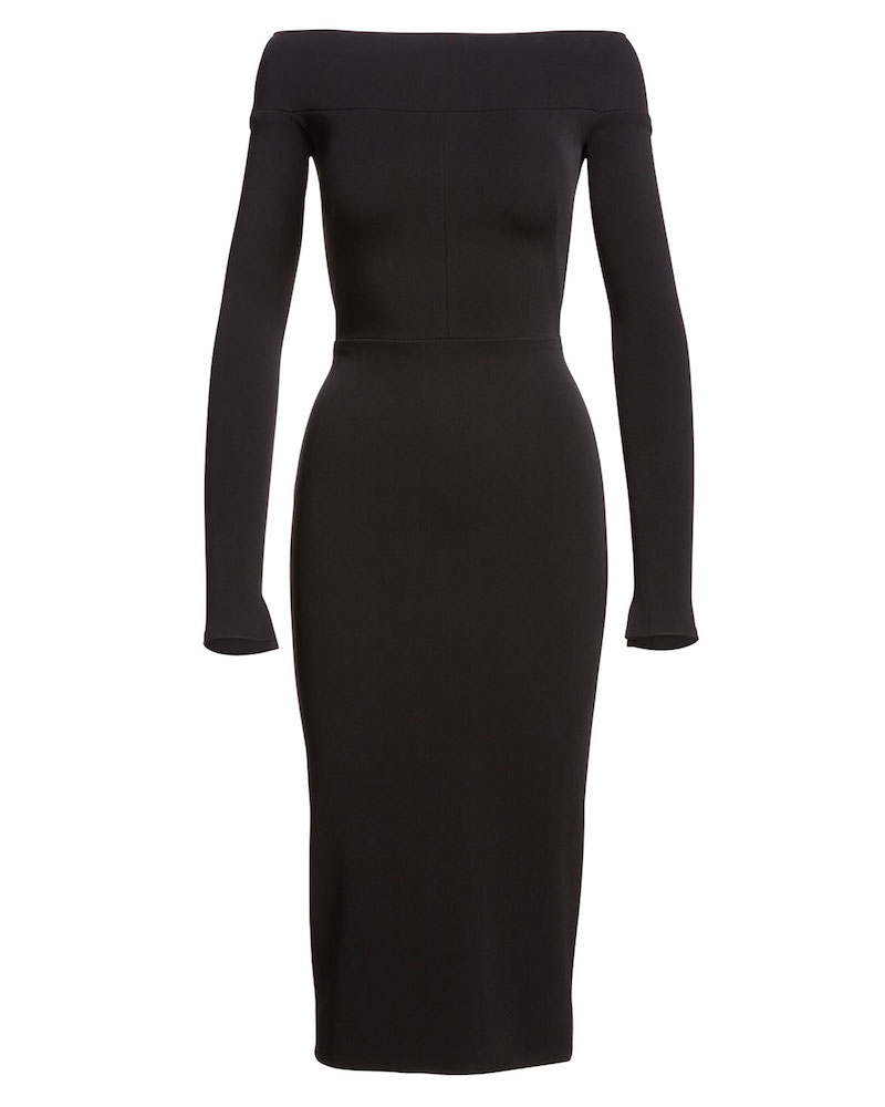 Narciso Rodriguez Off-the-Shoulder Long-Sleeve Sheath Dress