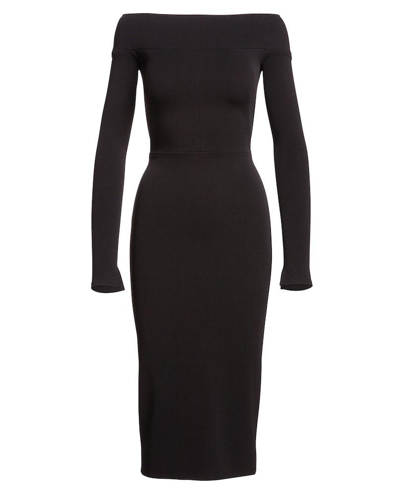 Narciso Rodriguez Off-the-Shoulder Long-Sleeve Sheath Dress