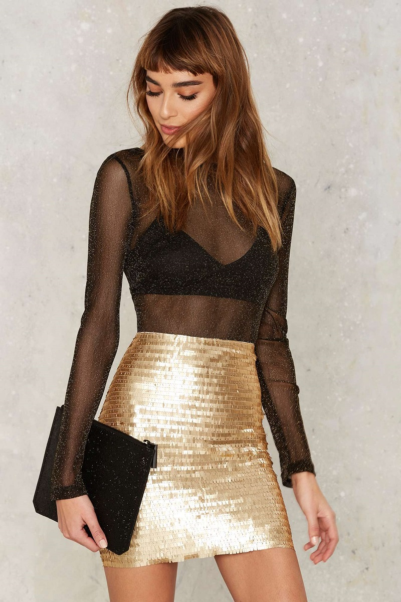 Nasty Gal Roxxanne Sequin Skirt