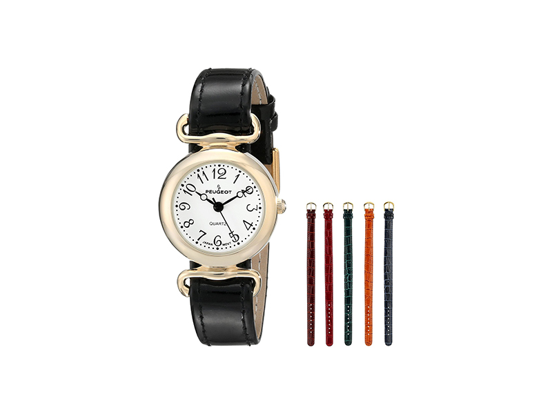 Peugeot Gold-Tone Metal with Five Slide Thru Interchangeable Leather Bands Watch Gift Set 676