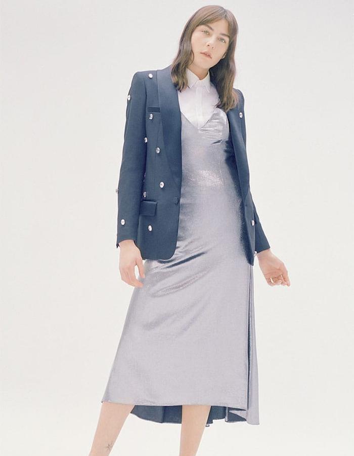 RACIL Metallic Silk-Blend Slip Dress