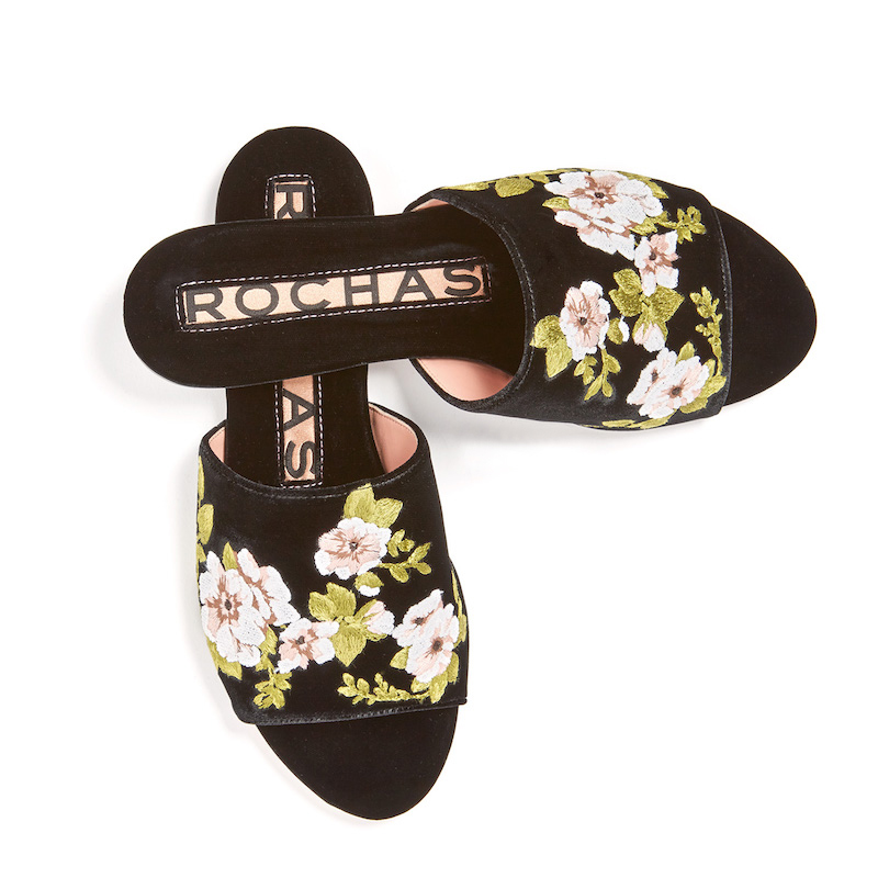Rochas Embroidered Slides