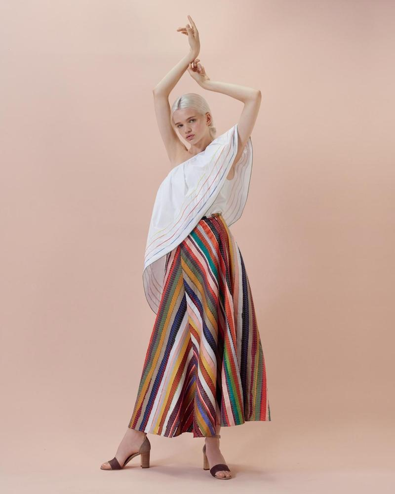 Rosie Assoulin Melted Rainbows Embroidery A-line Skirt