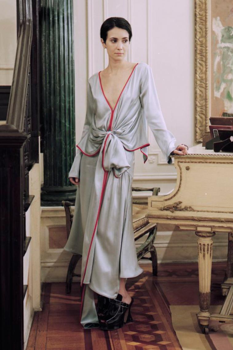 Sies Marjan Tie-front V-neck silk-charmeuse blouse