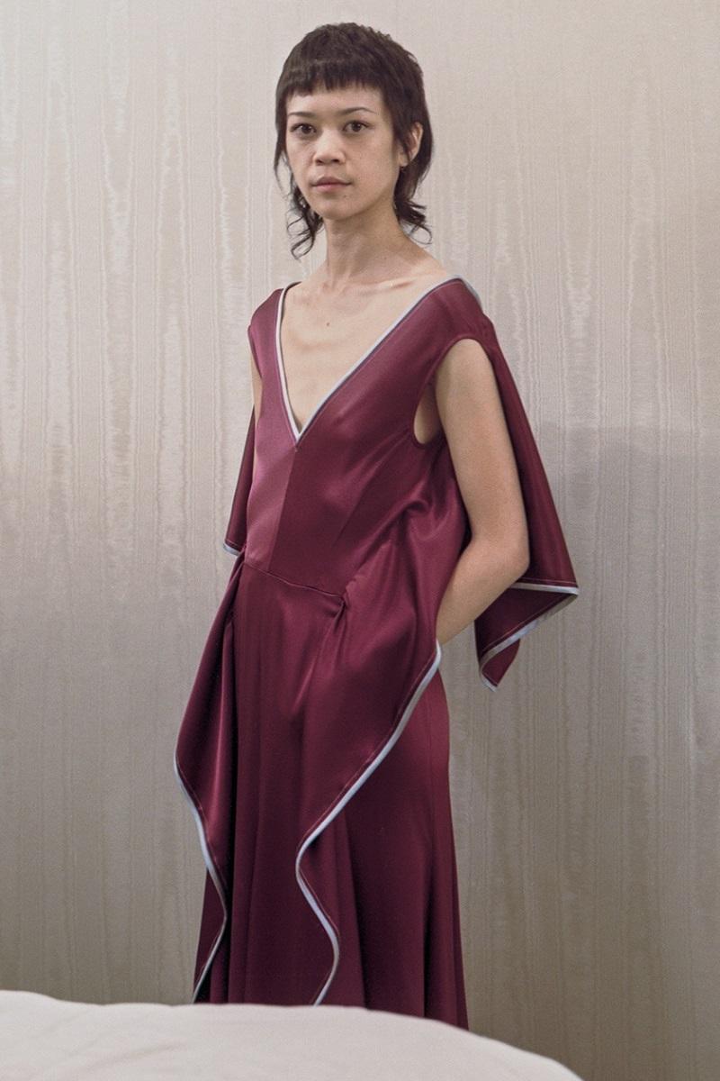 Sies Marjan V-neck ruffled silk-charmeuse dress
