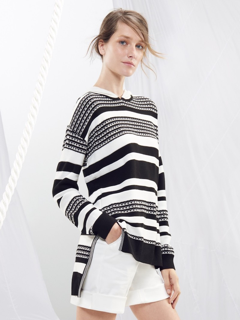St. John Sport Collection Multi Stripe Pullover Sweater