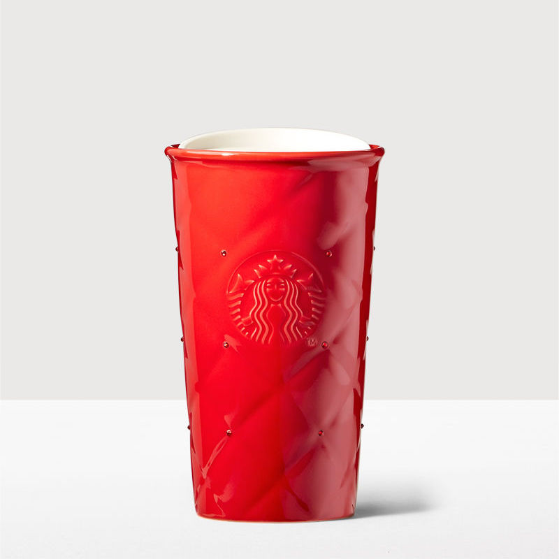 Starbucks Red Quilted Double Wall Traveler adorned with Swarovski crystals