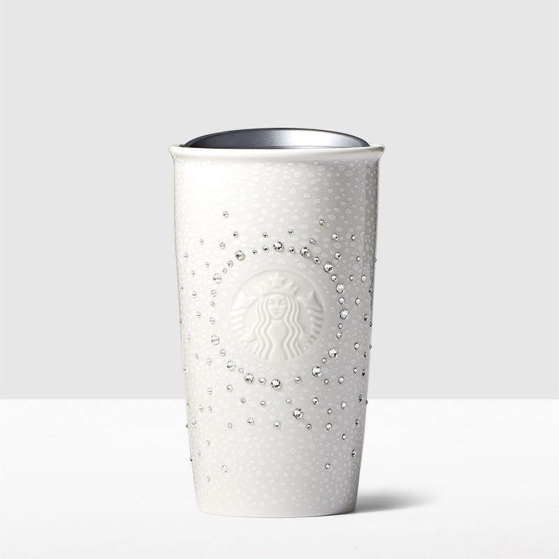 Starbucks White Double Wall Traveler adorned with Swarovski crystals