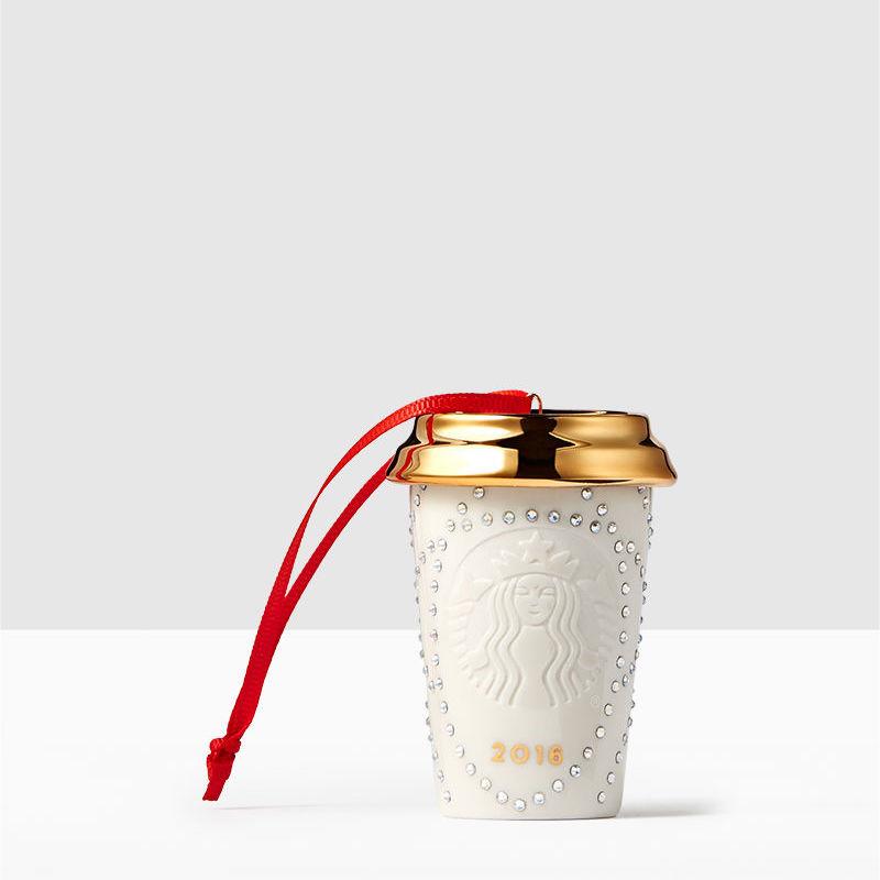 Starbucks White Ornament adorned with Swarovski crystals