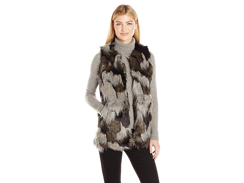 Steve Madden Shades Of Grey Faux Fur Long Vest