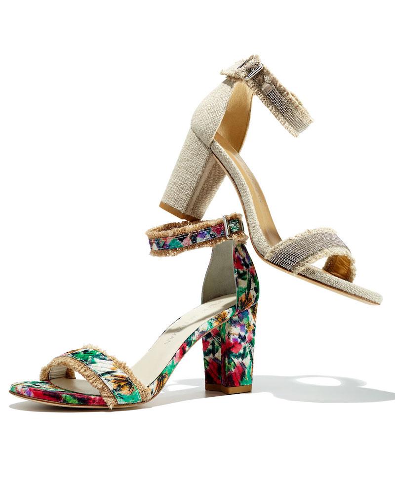 Stuart Weitzman Frayed Floral Fringe City Sandal