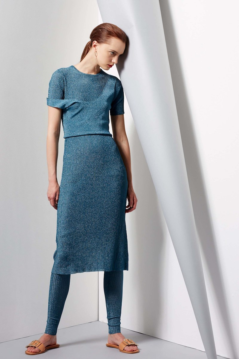 Tibi Metallic Ribbed Marcel Dress