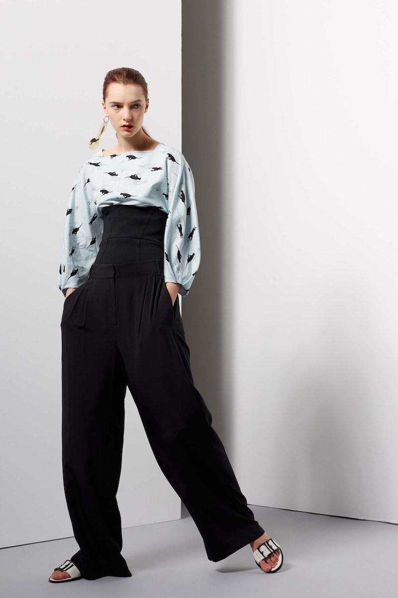 Tibi Silk Wide-Leg Pants