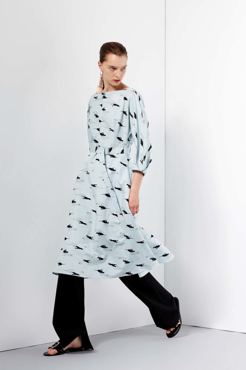 Tibi Tempo Printed Silk Linen Boatneck Dress