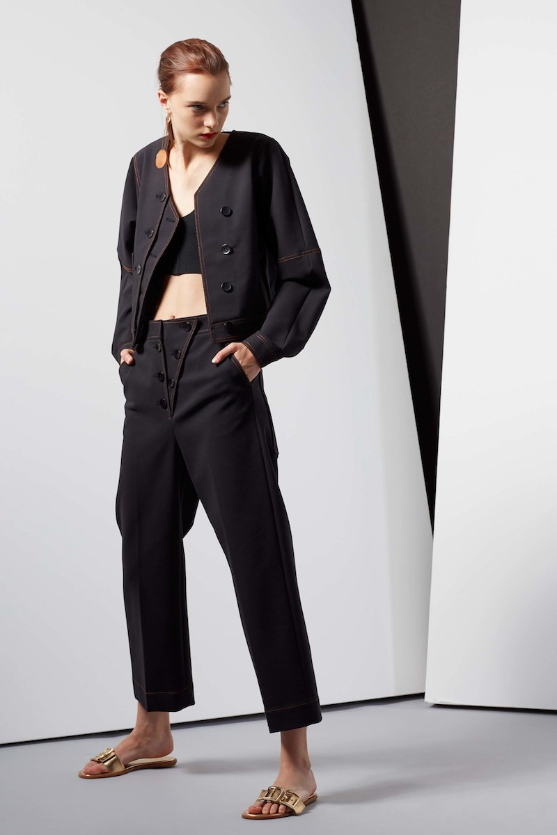 Tibi Topstitched Double Weave Stretch Jean Jacket