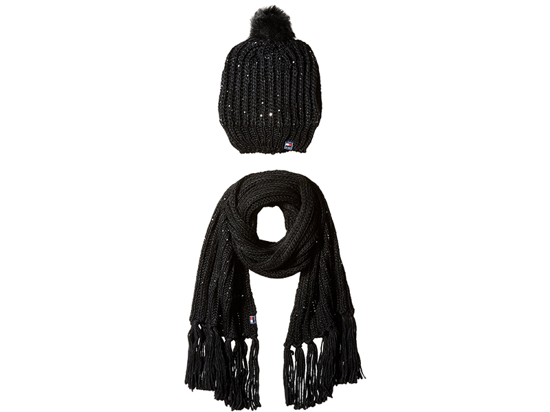 Tommy Hilfiger Beaded Chunky Knit Beanie and Scarf Gift Set
