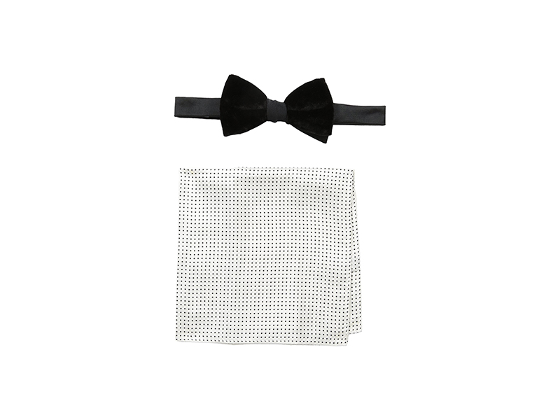 Tommy Hilfiger Velvet and Small Dot Pre-Tied Bow Tie and Pocket Square Set