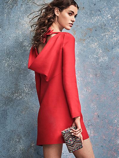 Valentino Bow Cowl-Back Wool & Silk Dress