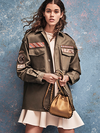 Valentino Cigar Box Embroidered Cotton Utility Jacket