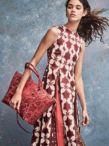 Valentino Cuban Flower Pleated Cotton & Linen Dress