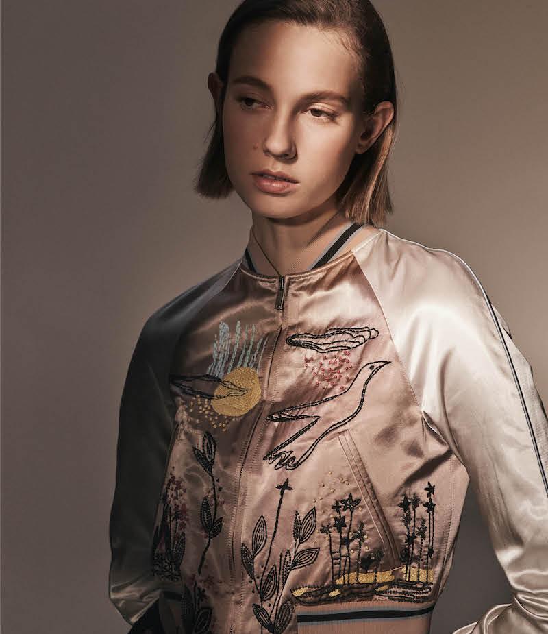 Valentino Embellished Satin Bomber Jacket