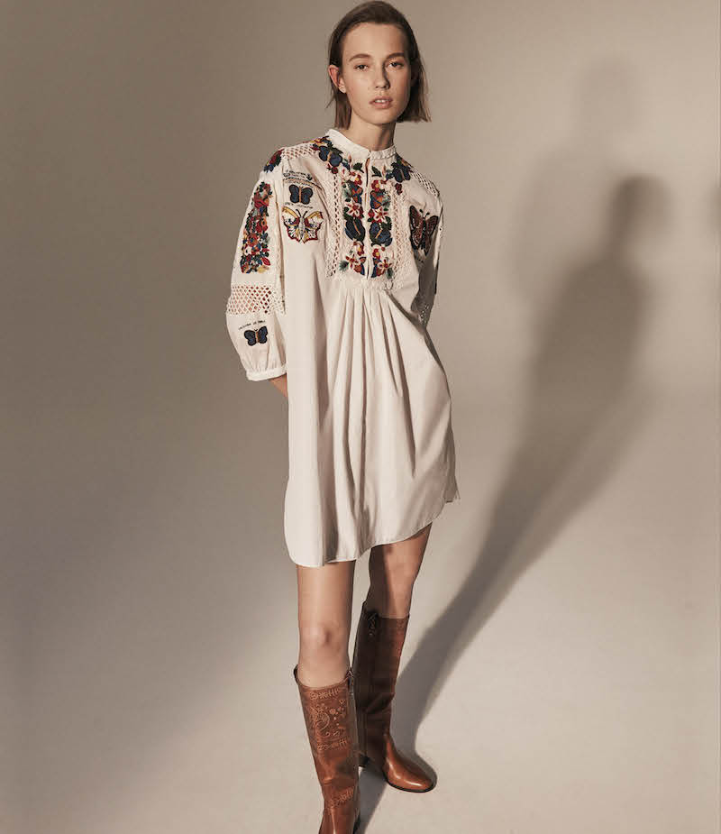 Valentino Embroidered Cotton Shift Dress