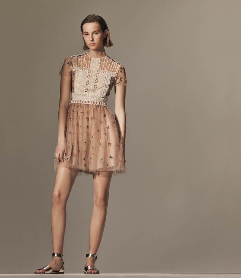 Valentino Flower-Embellished Tulle Cocktail Dress