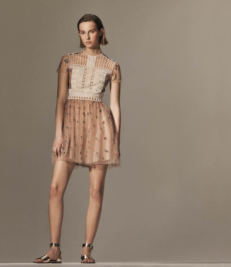 Valentino Flower-Embellished Tulle Cocktail Dress