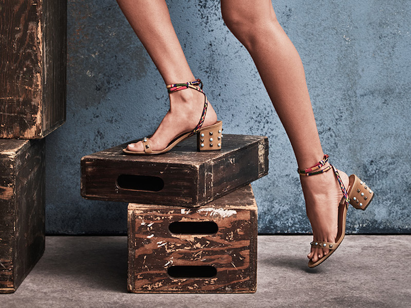 Valentino Rockstud Rolling Leather Lace-Up Block-Heel Sandals