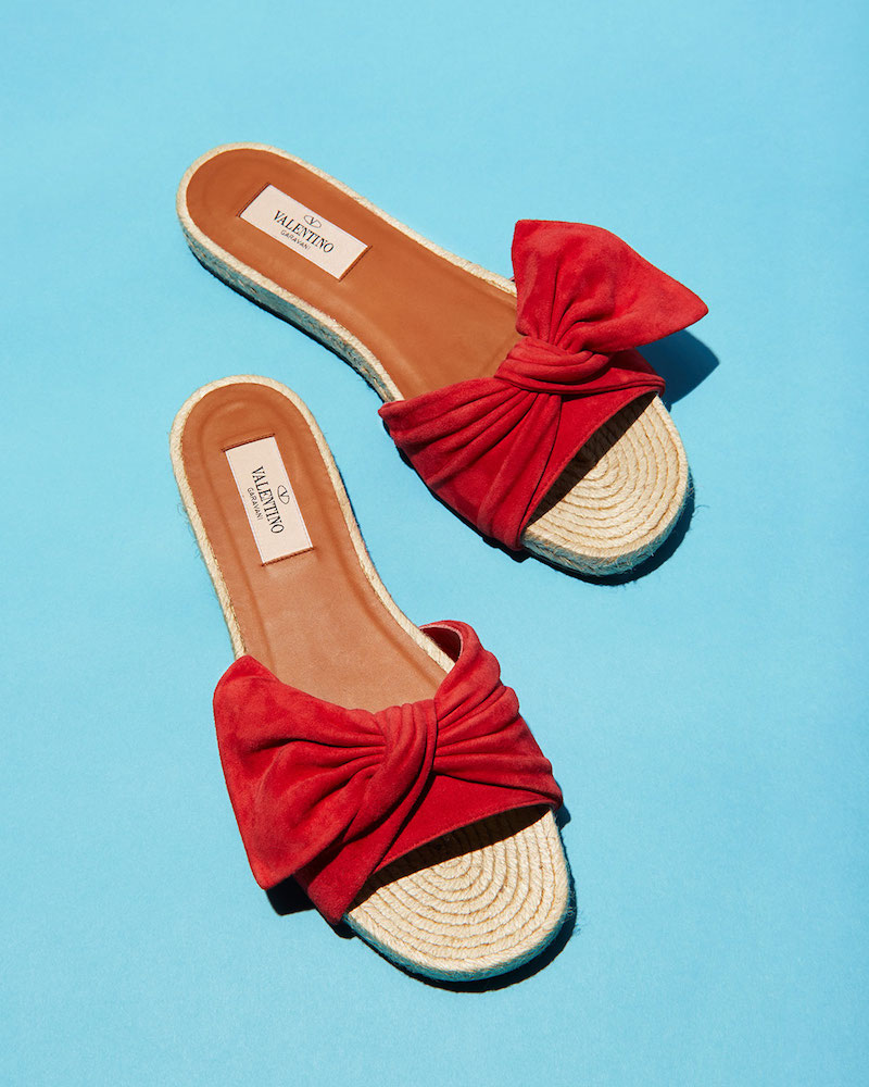 Valentino Tropical Bow Espadrille Slide Sandal