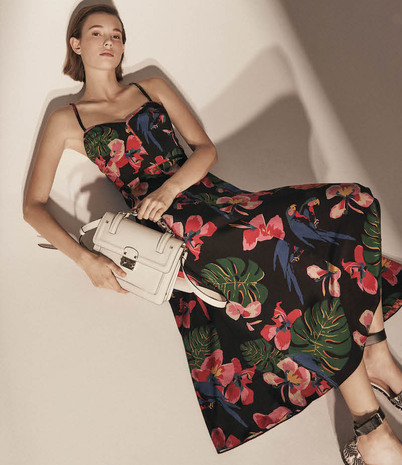 Valentino Tropical-Print Silk Midi-Dress