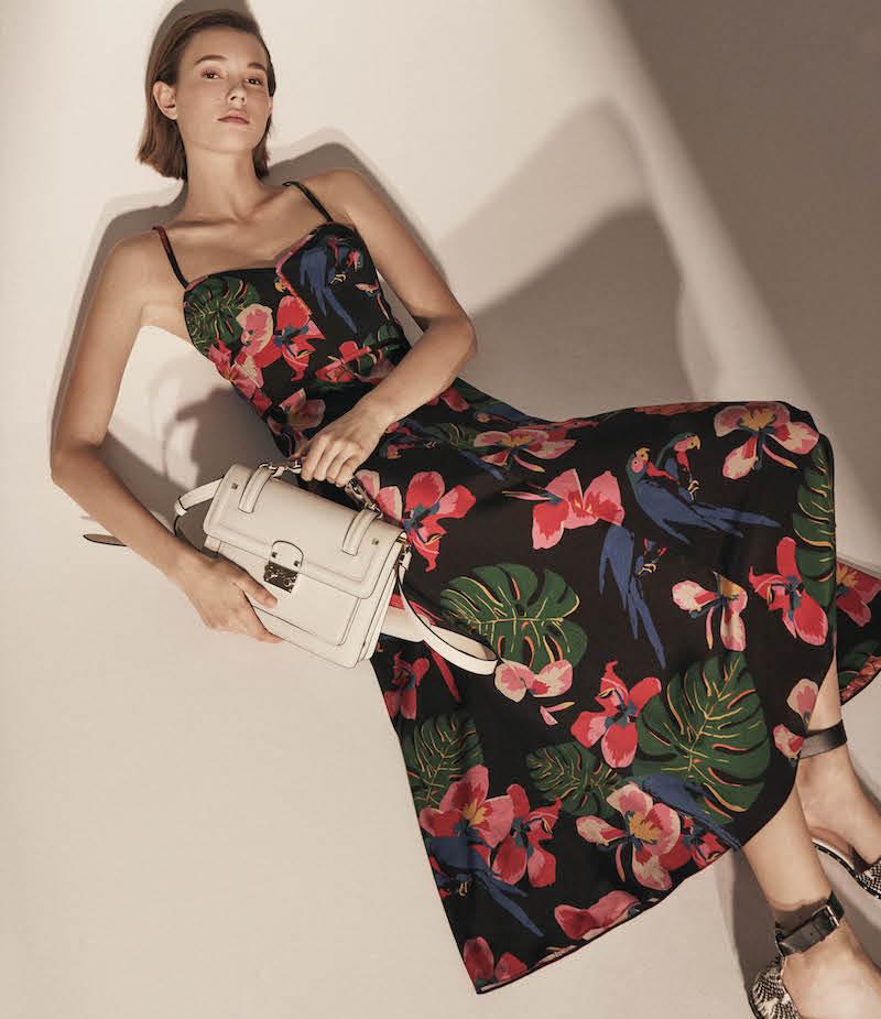 Valentino Tropical-Print Silk Midi-Dress