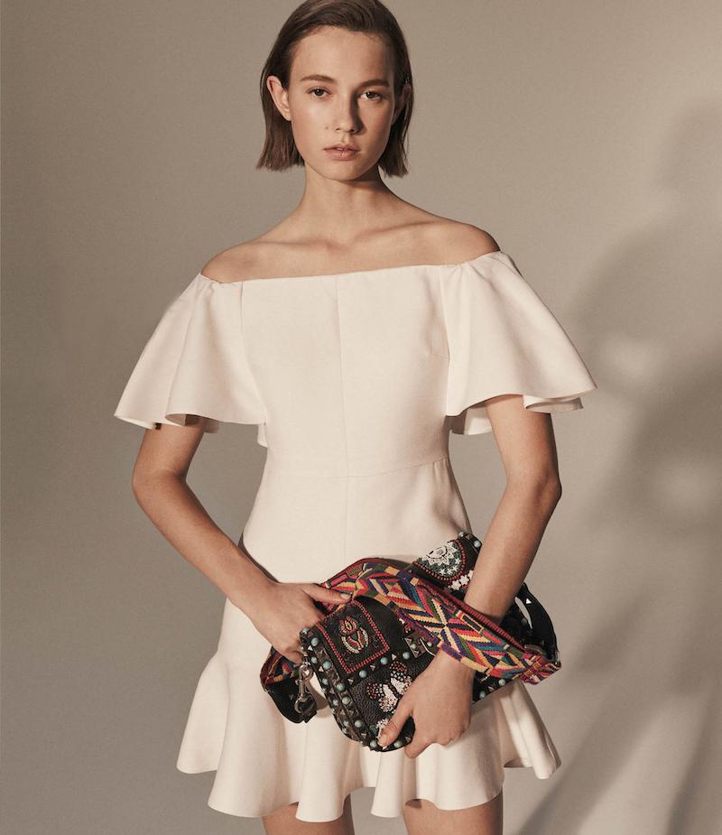 Valentino Wool-Silk Off-The-Shoulder Dress