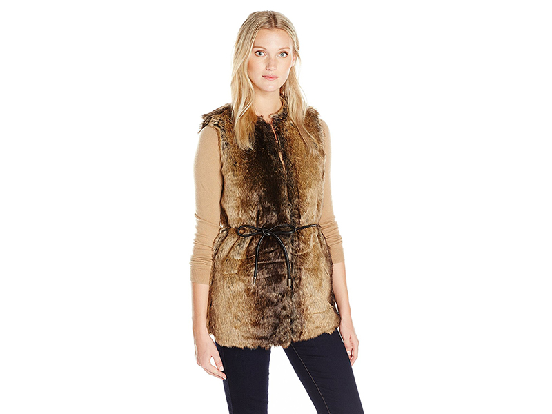 Vero Moda Ada Faux Fur Vest with Tie At Waist