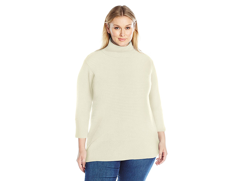 Vince Camuto Plus Size Long Sleeve Turtleneck Ribbed Sweater