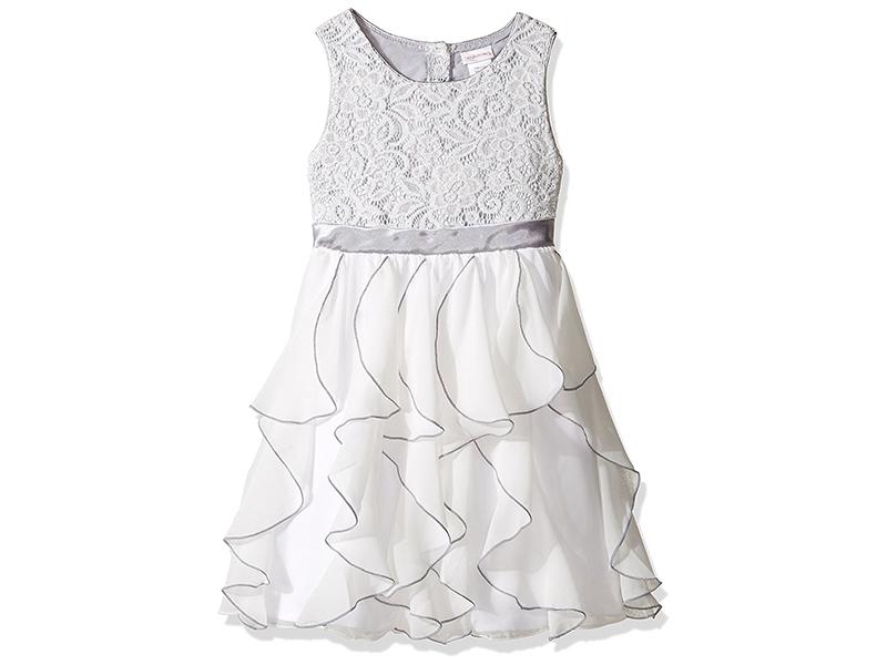 Youngland Girls' Lace to Chiffon Waterfall Dress