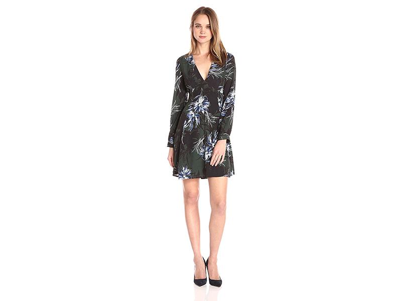 ASTR Mabel Floral Print Lace up Back Dress