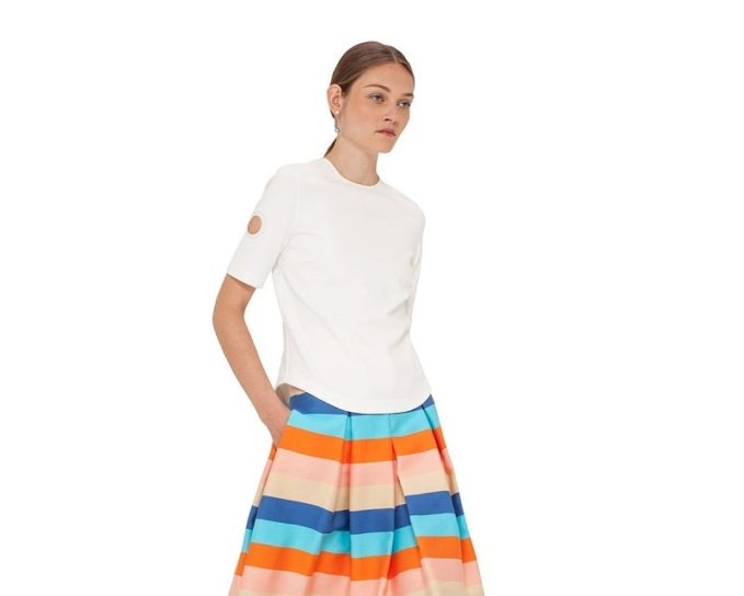 Akris punto Striped Pleated A-Line Skirt