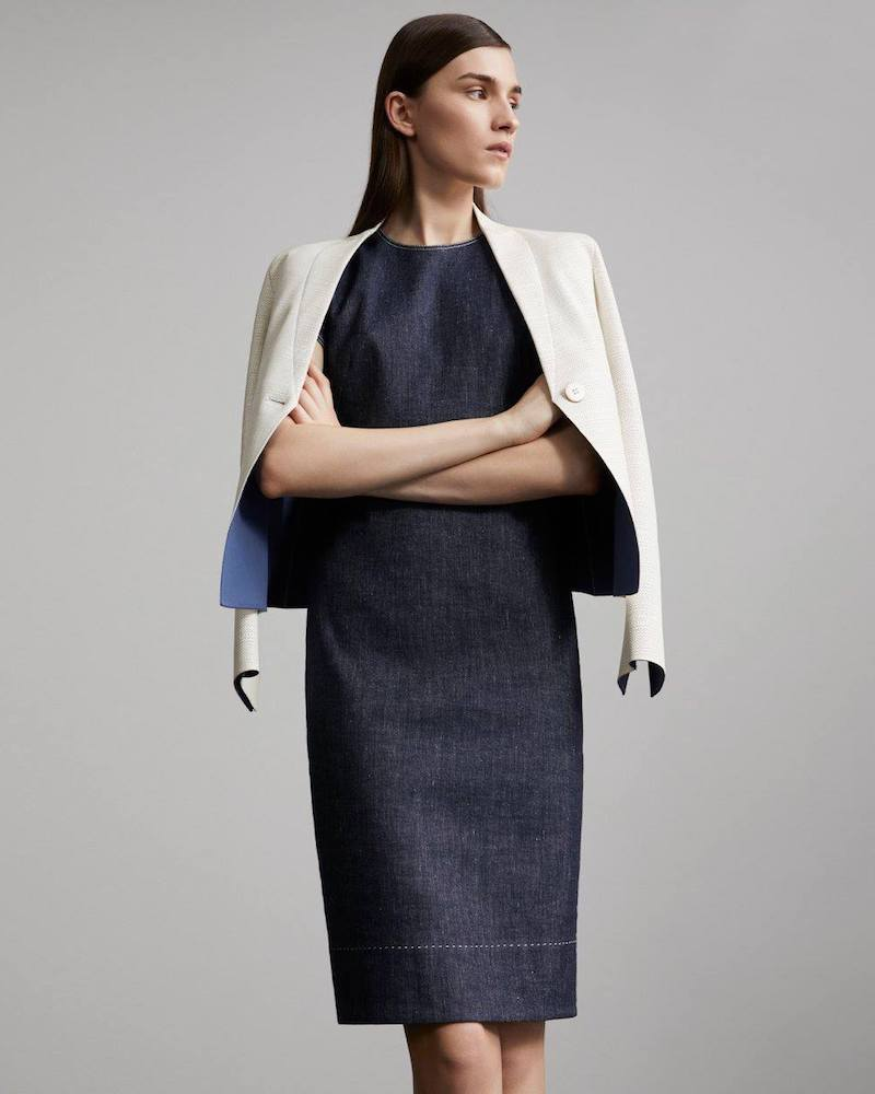 Armani Denim Fitted Sheath Dress