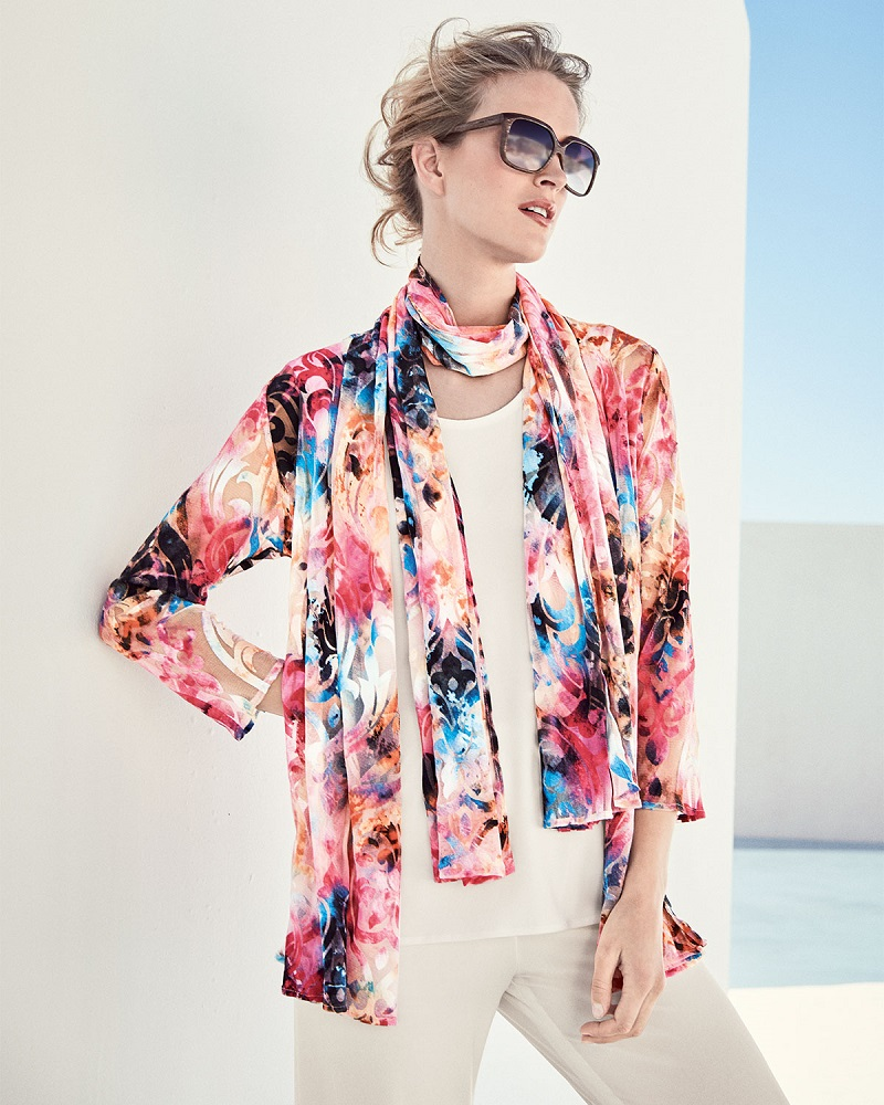 Caroline Rose Pink Sky Burnout Cardigan