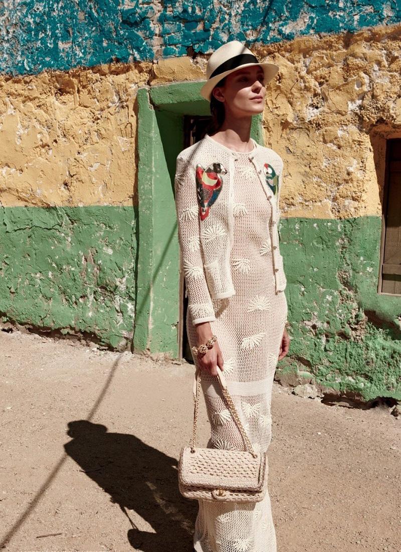 Chanel Crochered Silk Cap-Sleeve Dress