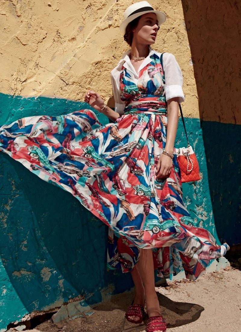 Chanel Embroidered Silk Halter Dress